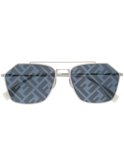 Fendi Monogram Lense Sunglasses In Black