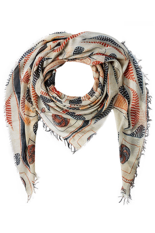 Figue Bengal Kantha Print Scarf With Silk In Multicolored