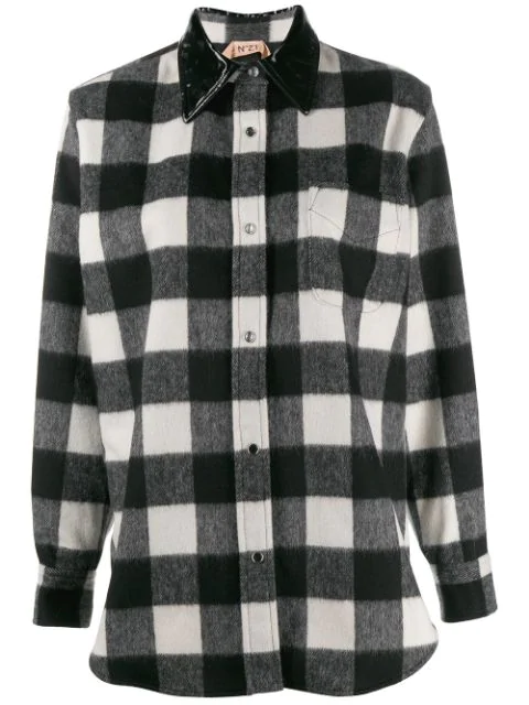 N°21 Gingham Check Shirt Jacket In Black