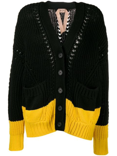 N°21 Two Tone Knitted Cardigan In Black