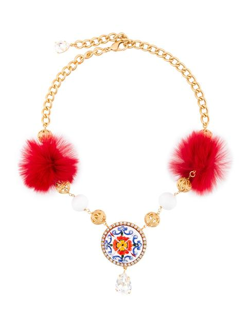 Dolce & Gabbana Majolica Fur And Crystal-embellished Necklace In Metallic