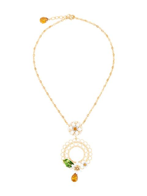 Dolce & Gabbana Floral Cage Necklace In Metallic