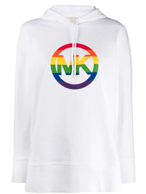 Michael Michael Kors Rainbow Logo Cotton Hoodie In 100 White