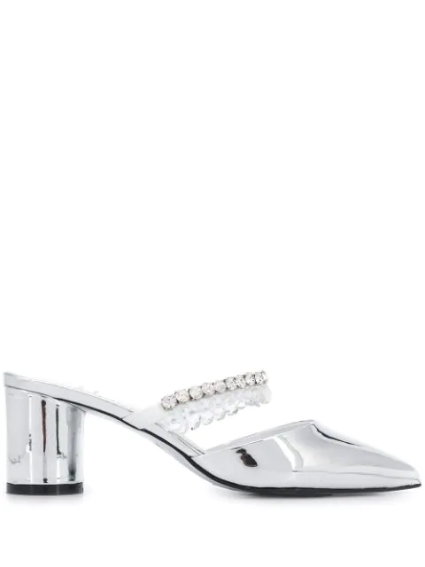 Suecomma Bonnie Crystal Beads Heeled Mules Silver | ModeSens