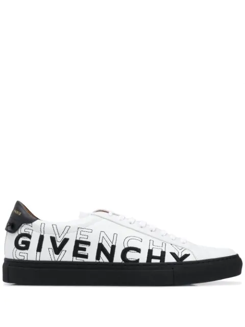 Givenchy White & Black Embroidered Urban Street Sneakers