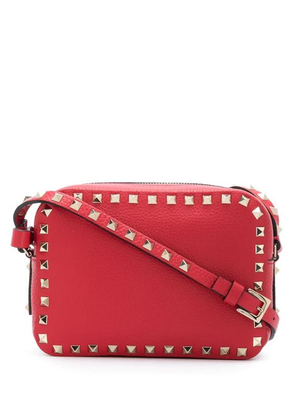 Valentino Garavani Rockstud Camera Shoulder Bag In Red