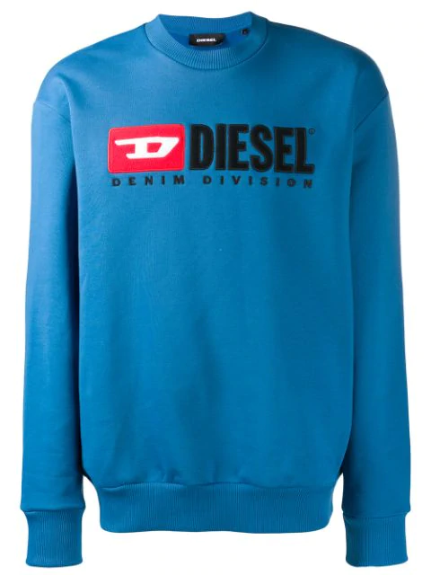 Diesel Contrast Logo Sweatshirt In Blue