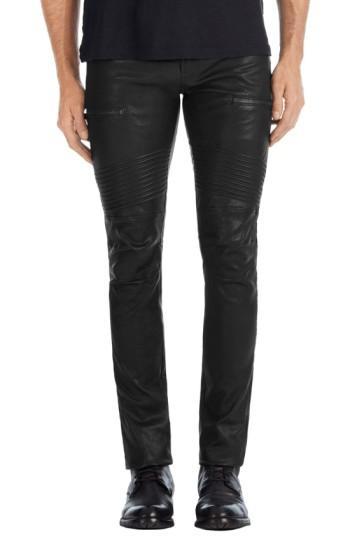 J Brand Acrux Skinny Fit Moto Leather Pants In Black
