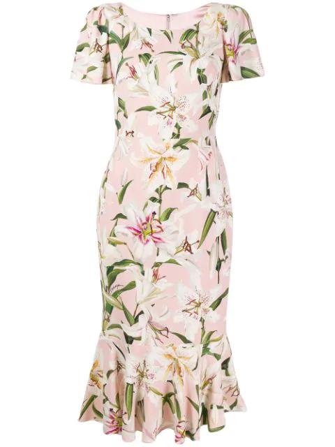 Dolce & Gabbana Lily Print Flutter Sleeve Bodycon Dress In Hfkk8 Gigli Fdo.Rosa