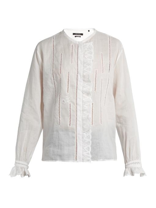 28c2f211b4dae1 Isabel Marant Amos Collarless Ruffle-Trimmed Blouse In White | ModeSens