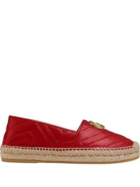 Gucci Pilar Chevron Flat Espadrille In Red