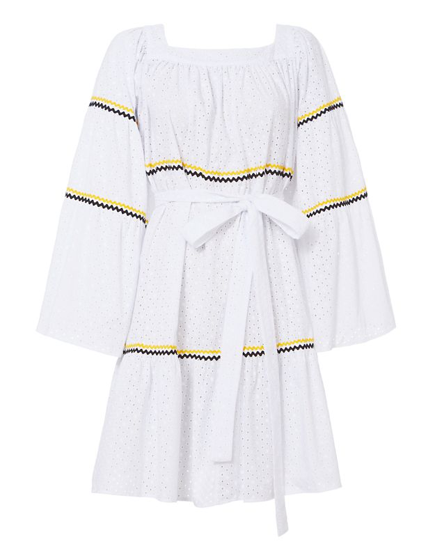 Lisa Marie Fernandez Ric-rac Trimmed Broderie-anglaise Cotton Dress In White Multi