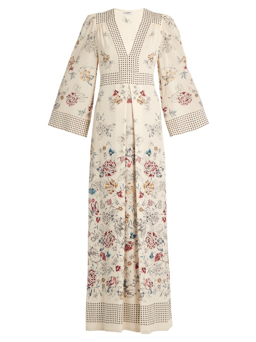 Vilshenko Amelie Floral And Square-print Silk Gown In Cream Multi
