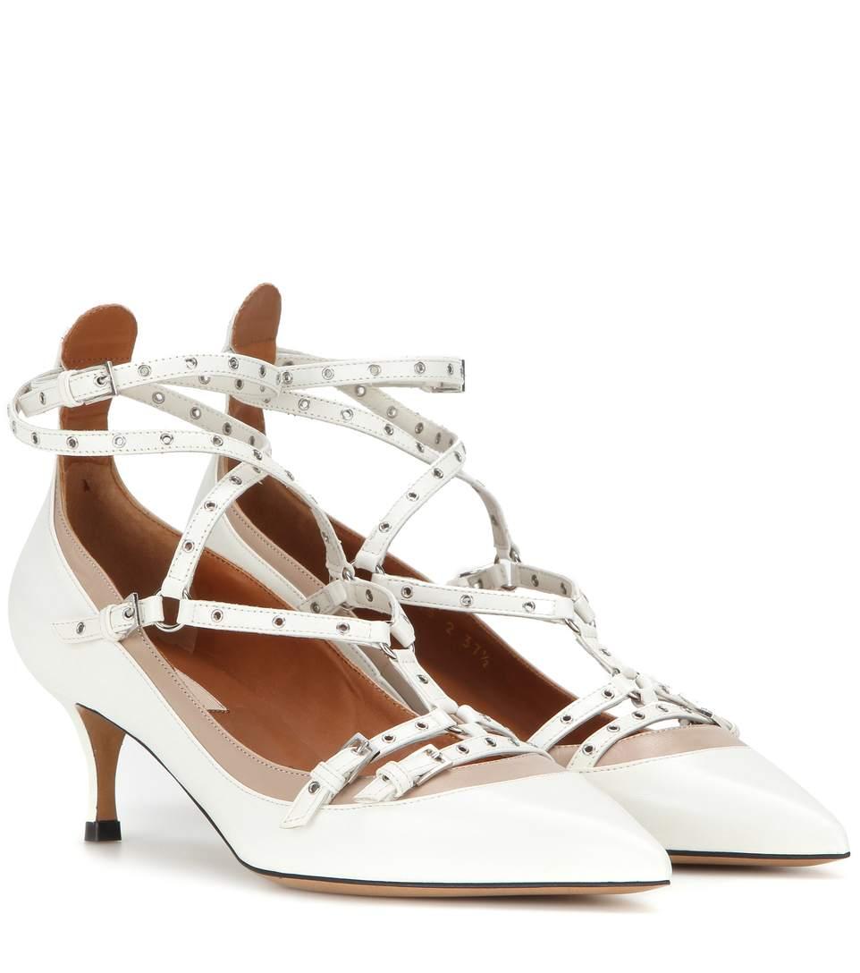Valentino Lovelatch Grommeted Leather Kitten Heel Pumps In White