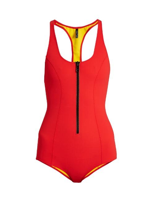 Lisa Marie Fernandez Elisa Bonded Swimsuit In Red