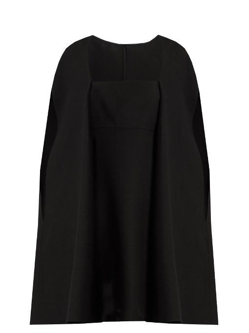 Valentino Cape-back Wool And Silk-blend Mini Dress In Black/white
