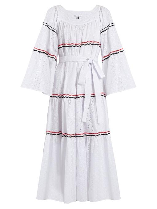 Lisa Marie Fernandez Rickrack-trimmed Broderie-anglaise Cotton Dress In White Multi