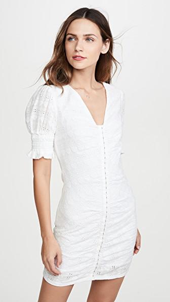 English Factory Heart Detail Cotton Eyelet Body-con Dress In White