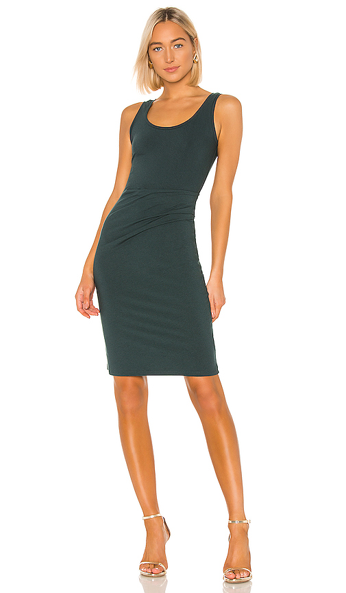 Theory Rubric Ruched Stretch Jersey Tank Dress In Pine Green
