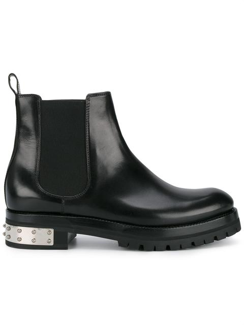 Alexander Mcqueen Embellished Leather Chelsea Boots In 1000 - Blac
