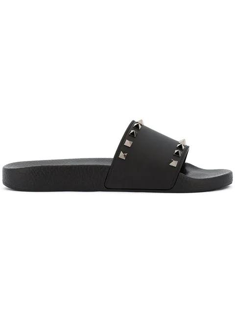 Valentino Rockstud Embellished Pvc Slide Sandals In Black
