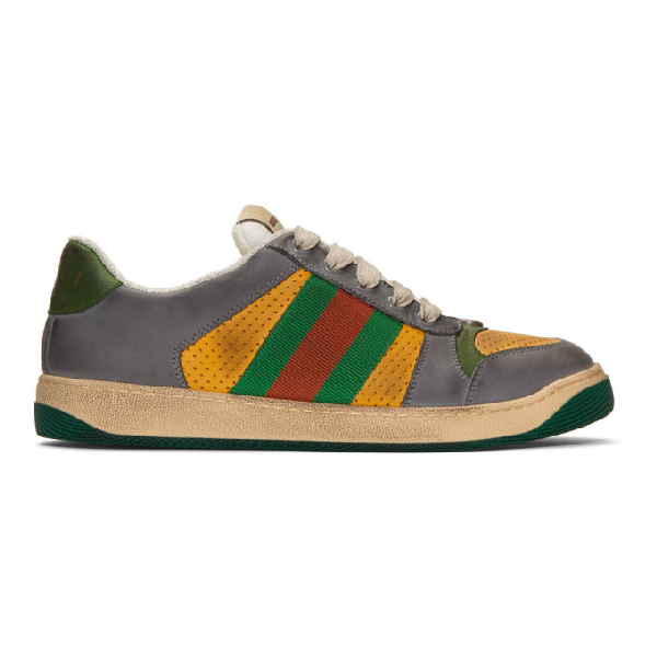 edb711ee7 Gucci Screener Grey And Yellow Leather And Suede Sneakers | ModeSens