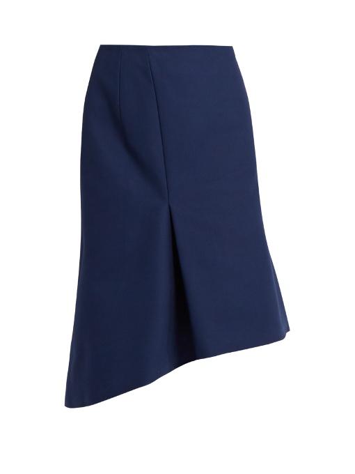 Balenciaga Asymmetric Cotton Skirt In Navy