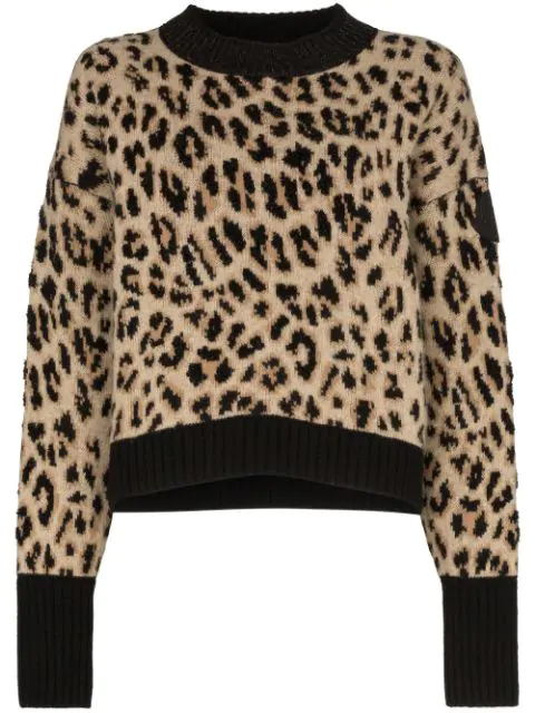 Moncler Leopard Print Wool & Cashmere Blend Crewneck Sweater In 297 Brown