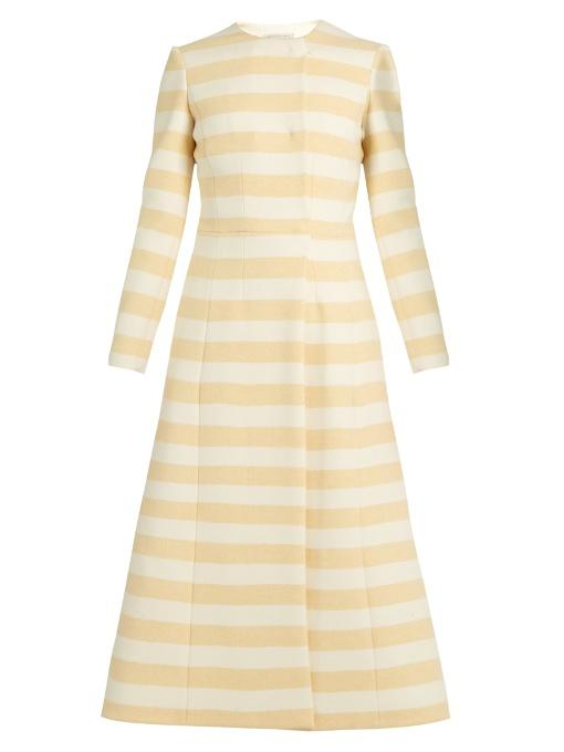 Emilia Wickstead Dominique Striped Wool-blend Coat In Yellow