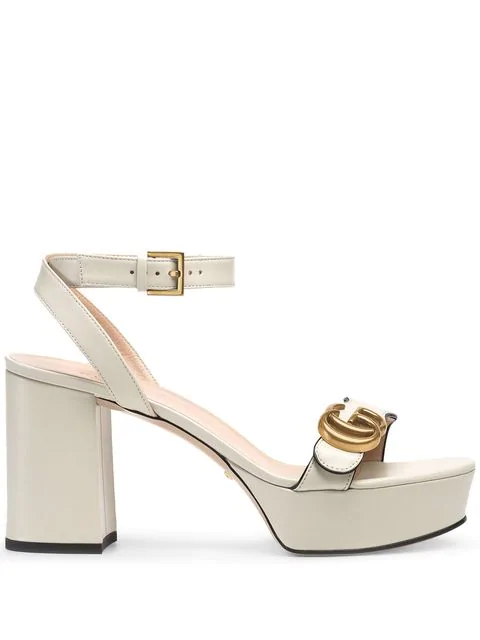 Gucci Marmont Ankle-Wrap Platform Sandals In White