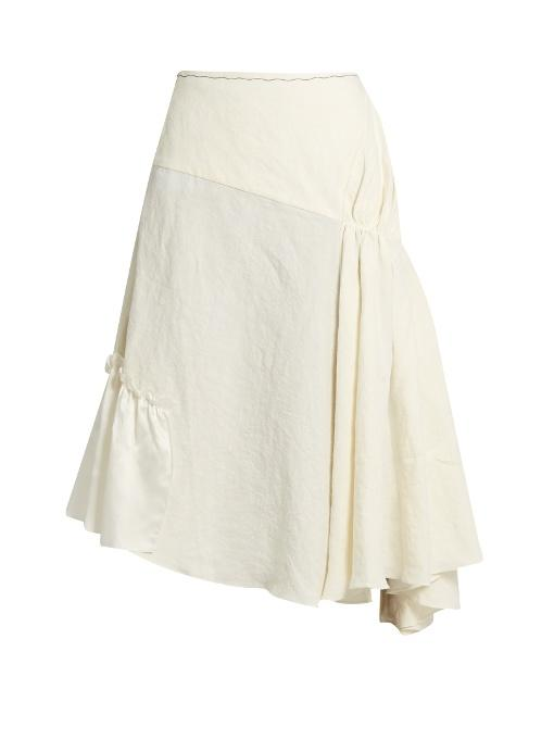 Jw Anderson Asymmetric Ruched Linen Skirt In Ivory
