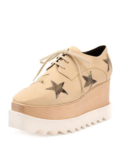 Stella Mccartney Elyse Faux-Leather Star Creeper, Nude/Gold In Nude-Cream