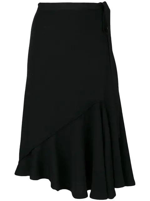 Jw Anderson Asymmetric Ruched Linen Skirt In Black