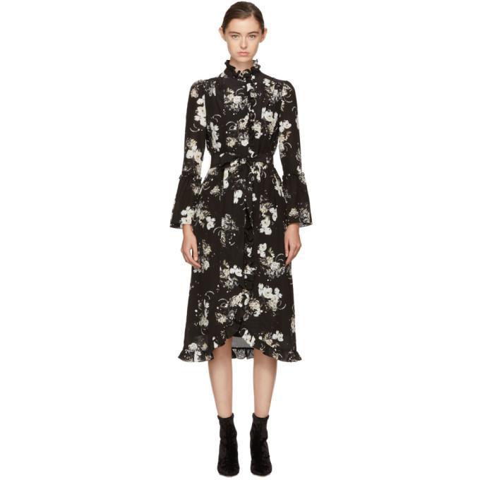 Erdem Siren Hiro Pond-print Silk-satin Dress In Black/ecru