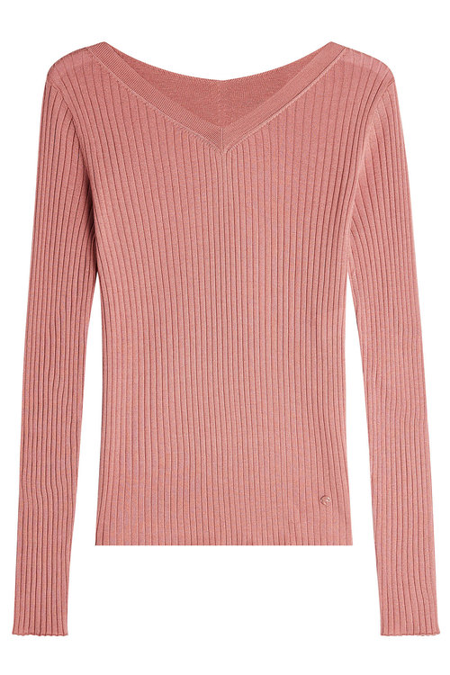 Nina Ricci Ribbed Cashmere Pullover With Silk In Pink