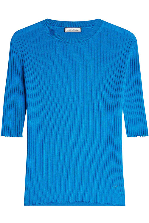 Nina Ricci Ribbed Cashmere Pullover With Silk In Blue
