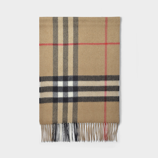 Burberry Giant Icon Classic Check Cashmere Scarf In Camel Check