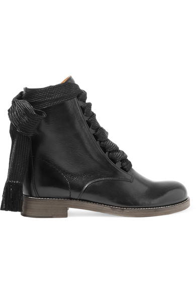 ChloÉ Harper Lace-Up Leather Ankle Boots In Black
