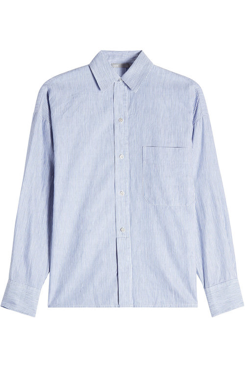 Vince Striped Linen And Cotton-blend Shirt In Blue
