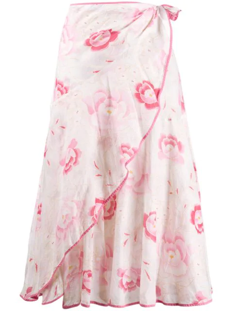 Kenzo 2000's Floral Print Skirt In White