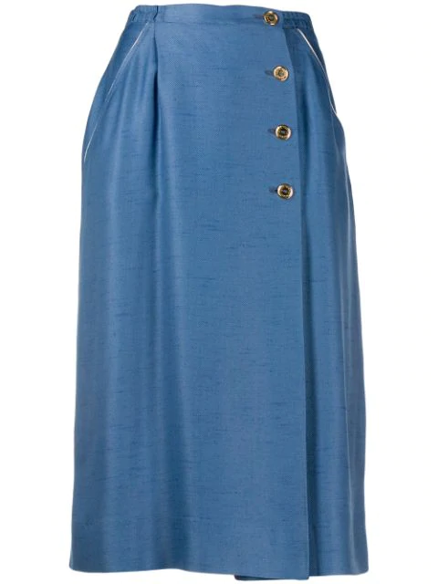 Pre-owned Louis Feraud Vintage 1970's Off-centre Buttoned Skirt In Blue