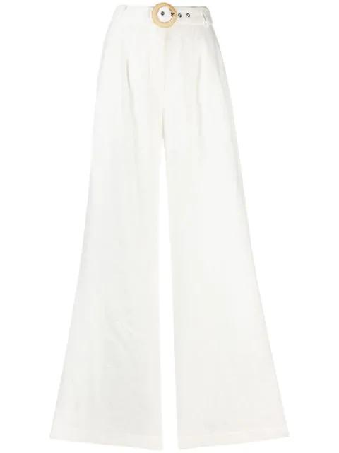 Zimmermann Honour Ivory Wide-Leg Linen Trousers In White