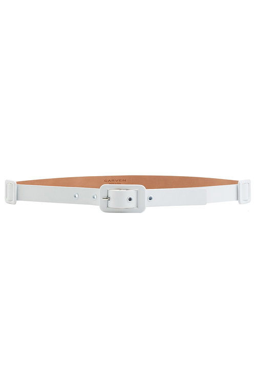 Carven Thin Leather Belt In White