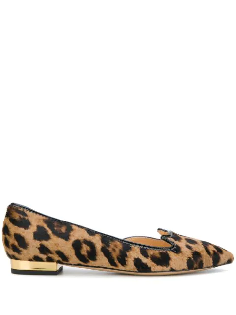 Charlotte Olympia Kitty D'Orsay Leopard-Print Calf-Hair Flats In Brown