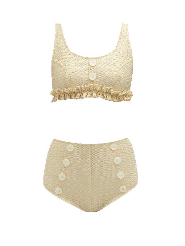 Lisa Marie Fernandez Colby High-rise Metallic-seersucker Bikini In Cream