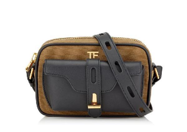 Tom Ford Canvas T Twist Camera Bag In Khaki+black