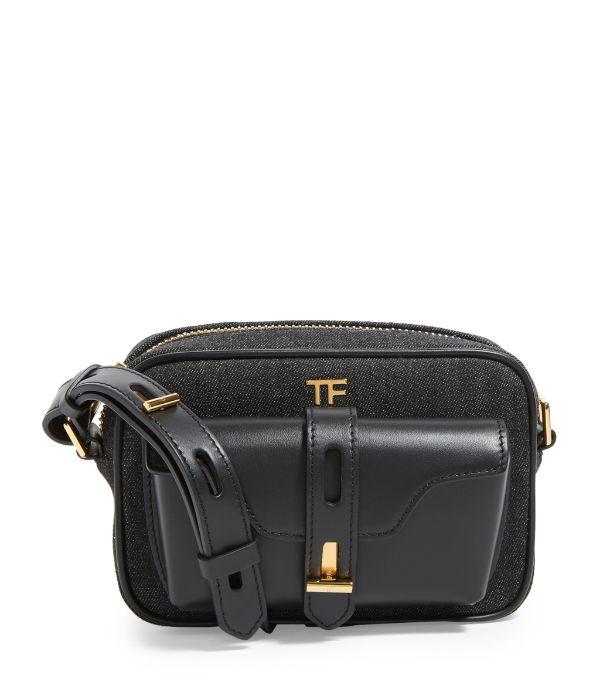 Tom Ford Denim T Twist Camera Bag In Black