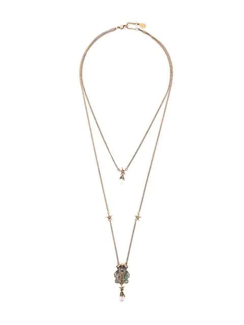 Alexander Mcqueen Double-Wrap Beetle Necklace - Gold In 8695