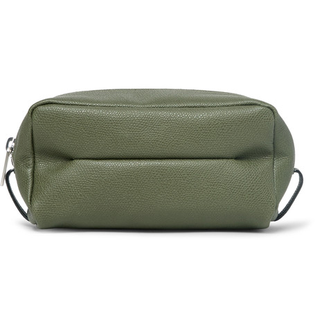 Valextra Small Pebble-grain Leather Wash Bag In Army Green