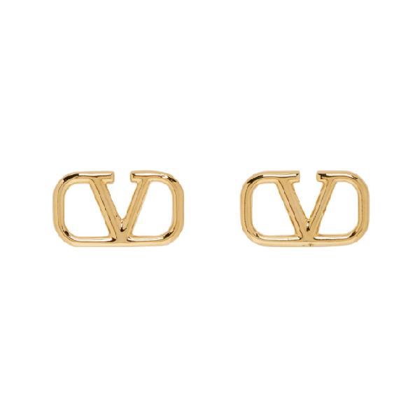 Valentino V Logo Earrings In Cs4 Gold